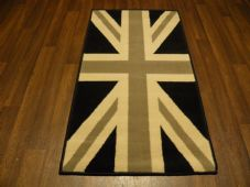 Novelty Aprox 4x2 60cmx110cm Union Jack Mat/Rugs Woven Backed Black/Grey/Cream